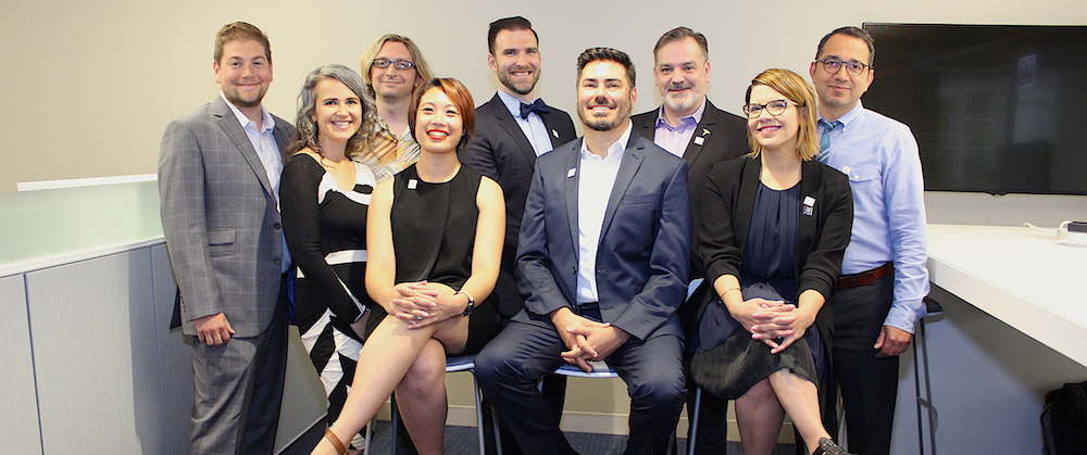 A photo of the ISGMH faculty. Back row, from left to right: Dr. David Moskowitz, Dr. Gregory Phillips II, Dr. Michael Newcomb, Dr. Thom Remble, Dr. George Greene. Front row, from left to right: Dr. Francesca Gaiba, Dr. Kathryn Macapagal, Dr. Brian Mustanski, Dr. Michelle Birkett.