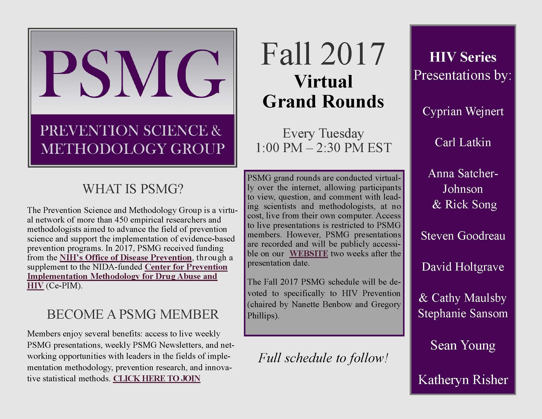 Informational flier for PSMG