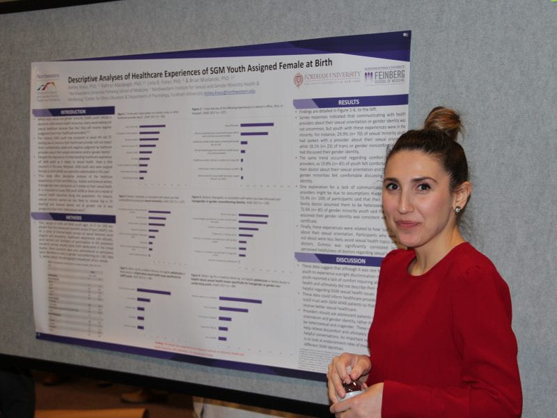 Ashley Kraus presents her poster at Research Day.