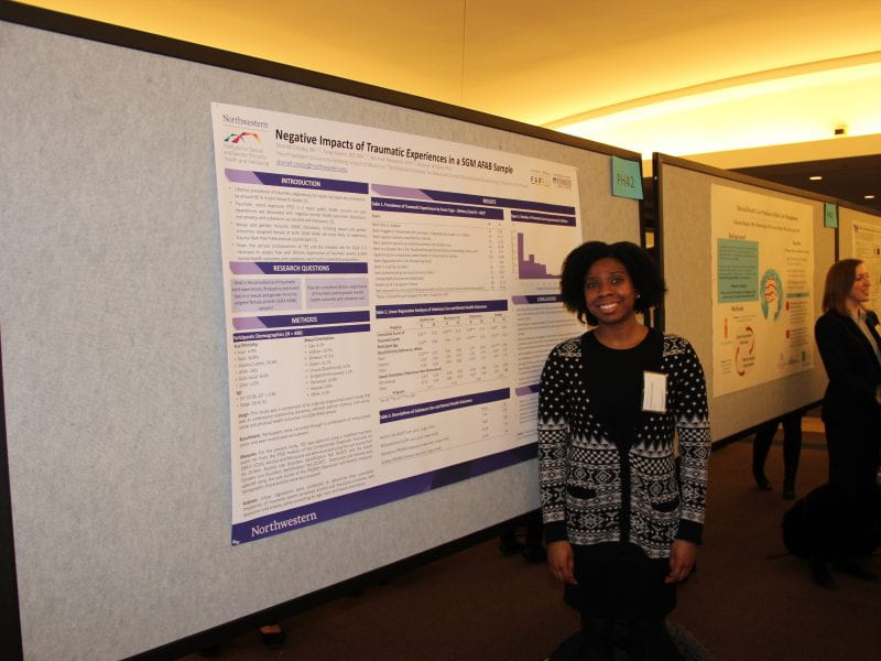 Shariell Crosby presents her poster at Research Day.