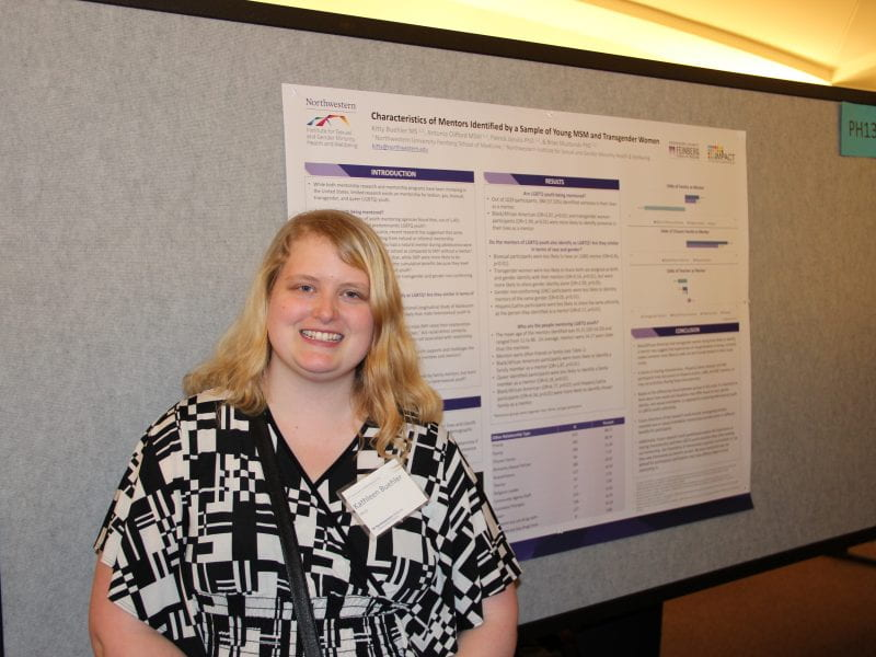 Kitty Buehler presents her poster at Research Day.