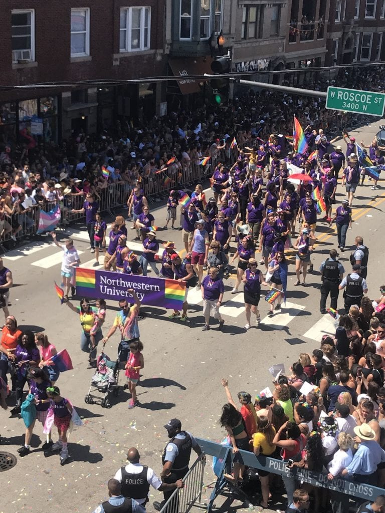 Northwestern group in Chicago Pride Parade, June 24. ISGMH members in photo include Kai Korpak, Gates Crisler, Adam Conway, Arielle Zimmerman, Dr. Michael Newcomb, and Dr. Brian Mustanski.