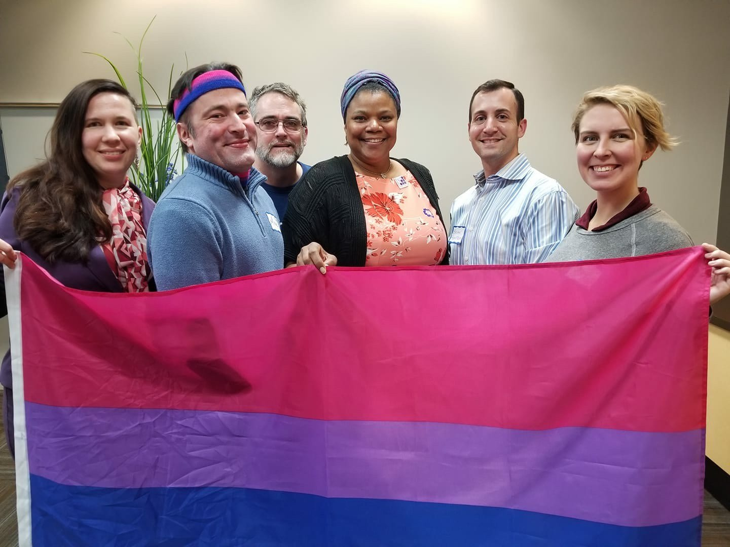 A handful of members of the Chicago Bisexual Health Task Force, from left to right: Lauren Beach, Mike Oboza, Jim Pickett, Adrienne McCue, Brian Feinstein, and Ashley Walker.