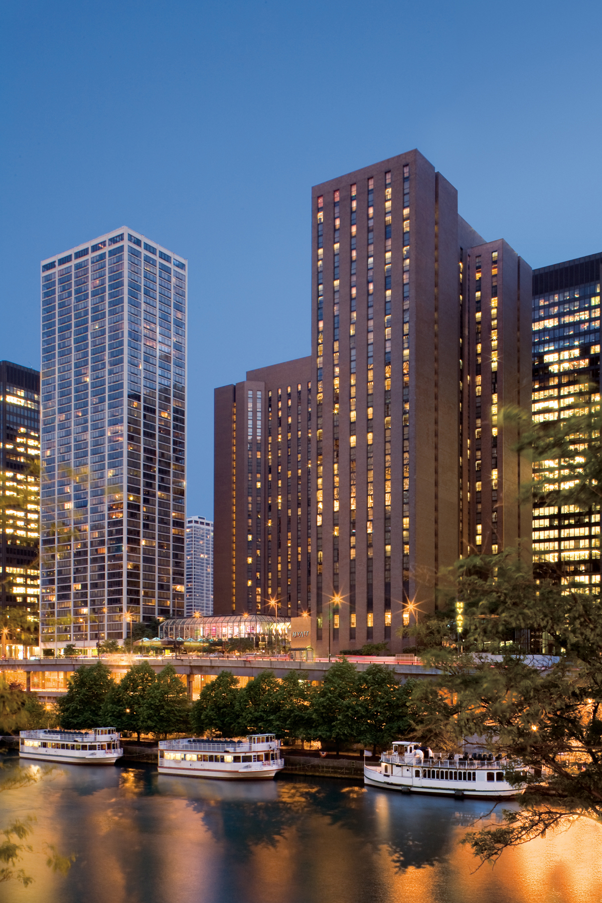 Hyatt Regency Chicago oversees the Chicago River and is adjacent to Lake Michigan.