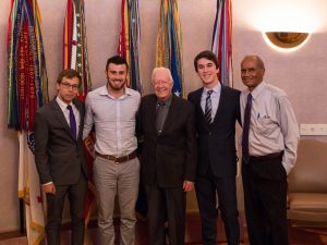 Dr Joseph and students with Jimmy Carter