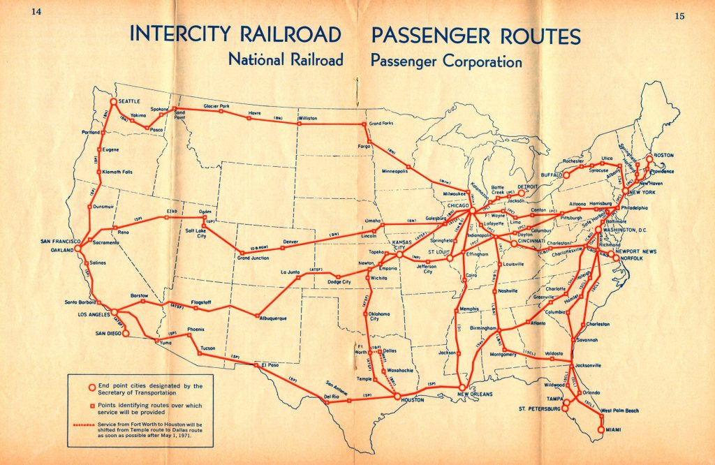 Amtrak May 1, 1971 Route Map