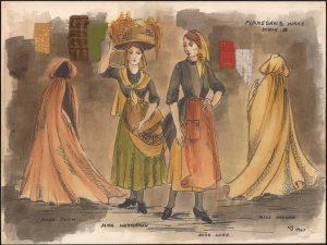 """Finnegans Wake"" costumes designs by Virgil Johnson, 1967"