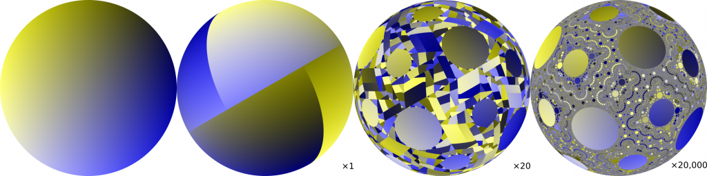Mixing by cutting-and-shuffling a hemispherical shell