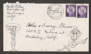 Festival records include this envelope to organizer Barry Olivier