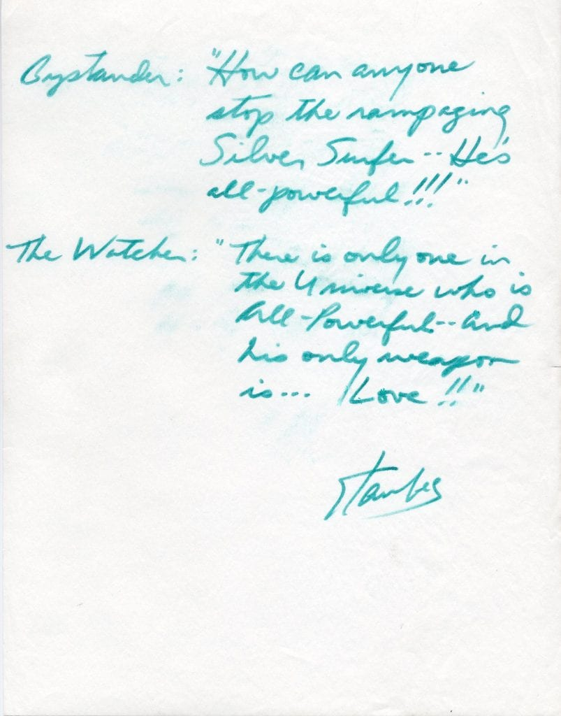 Stan Lee handwritten vignette