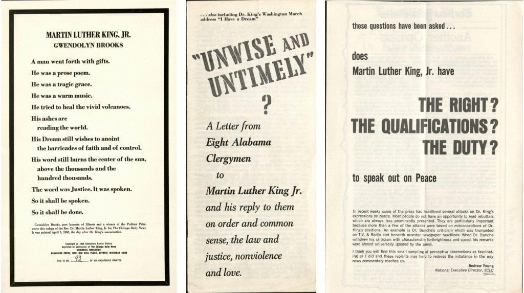 three pamphlets regarding Martin Luther King Jr.