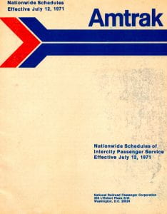Amtrak July 12 1971 Timetable