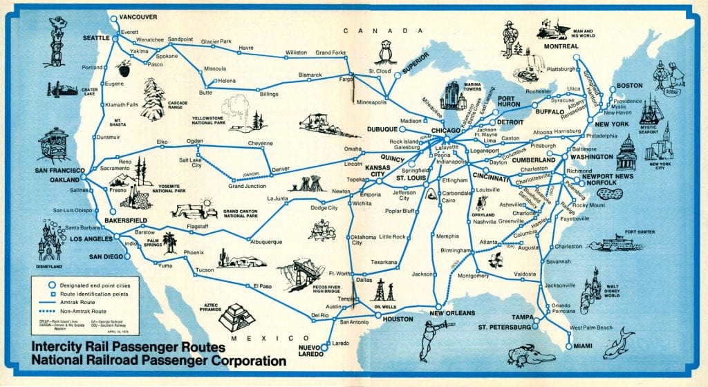 1975 Amtrak Route Map