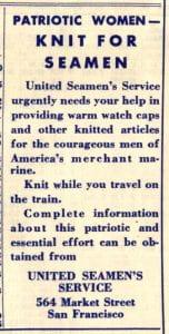 1943 ad: Knit for Seamen
