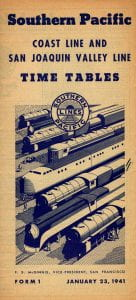 Southern Pacific 1941 Timetable