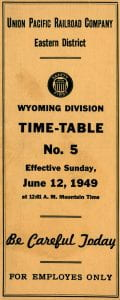 Union Pacific Employee Timetable, 1949