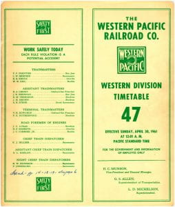 Western Pacific Employee Timetable, 1961