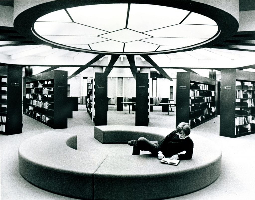 research tower interior with social circle