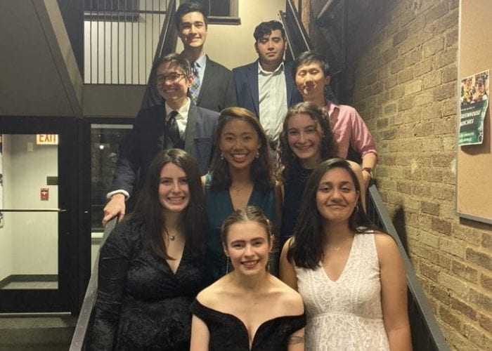 CCS members line the staircase to head to RCB formal