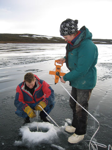 Iceland, 2004. Checking ice thickness (for safety) and water depth (for science).