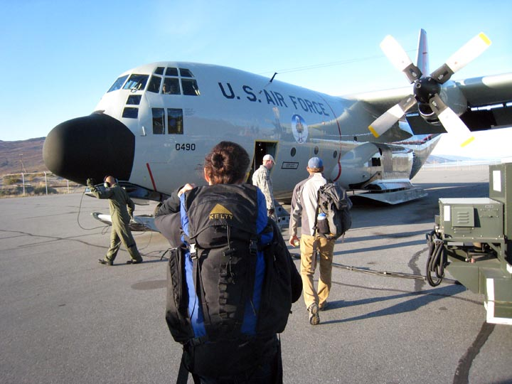 Boarding an Air National Guard Hercules C-130 flight in Kangerlussuaq to head home.