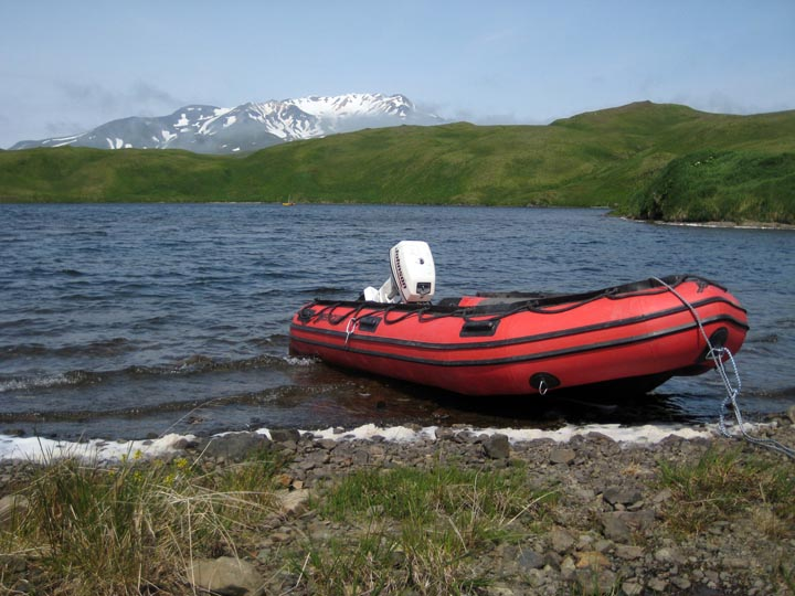 View from the shore of Heart Lake, Adak.