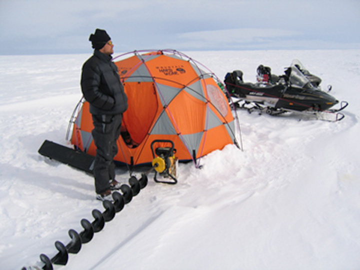 A tent provides wind shelter, Baffin Island.