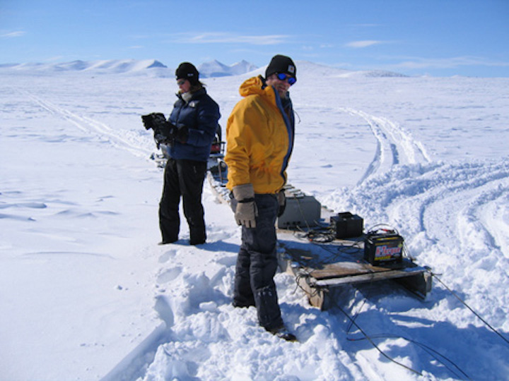 Geophysical surveys on an ice-covered lake, Baffin Island.