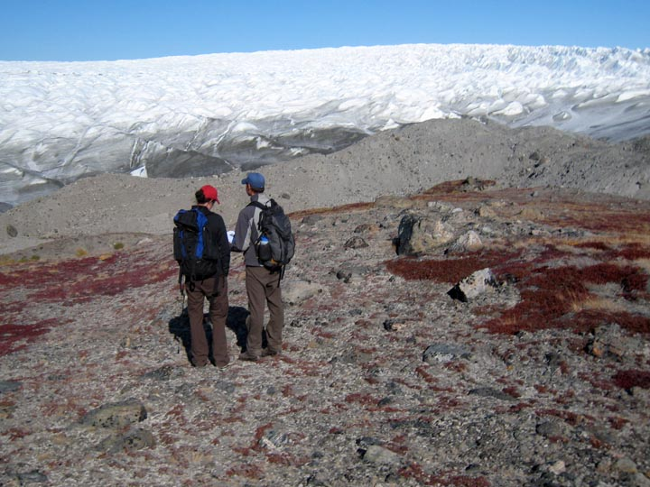 After coring in the airport region near Ilulissat, we flew back to Kangerlussuaq for some glacial geology. Here Nicolas Young and I are examining the Little Ice Age moraine and a possible older Neoglacial moraine.