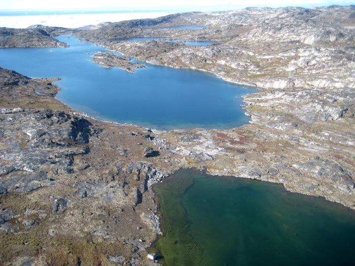 The three airport-region lakes we targeted for coring are visible here. The lakes are informally named Fishtote Lake (foreground), Jawbone Lake (middle of photo), and Portage Lake (visible in background). My primary objective in Greenland is to obtain Holocene paleoenvironmental and, if feasible, paleotemperature records from these lakes.