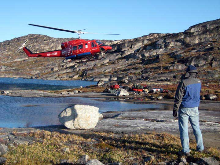 Transporting coring gear to the field area near Ilulissat, west Greenland.