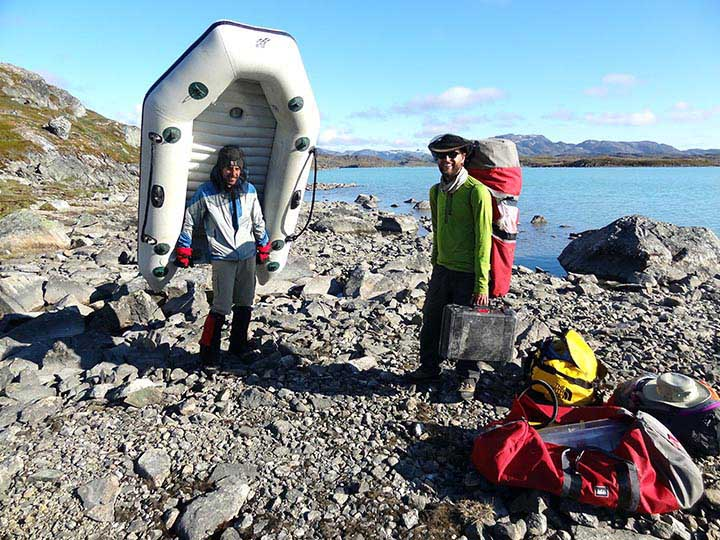 We accessed our study sites by portaging equipment from coastal drop-off points accessible from Nuuk by boat. Many thanks to the wonderful local business, MR Charter, for boat rides and other help with logistics.