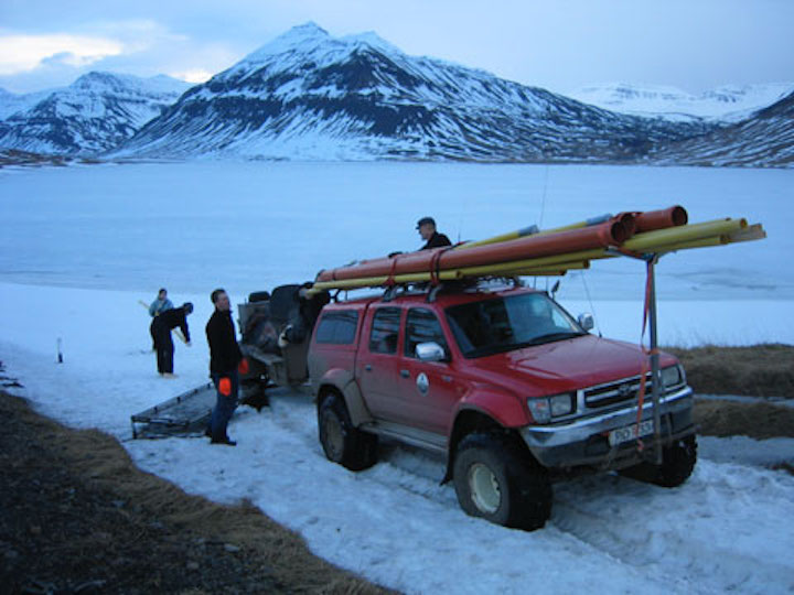 Winter coring, north Iceland.