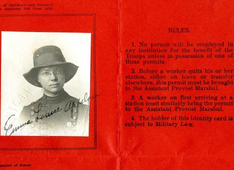 Worker's Permit, 1918, Issued by the American Expeditionary Force to army nurse Emma Luise Appelgren, Base Hospital 12