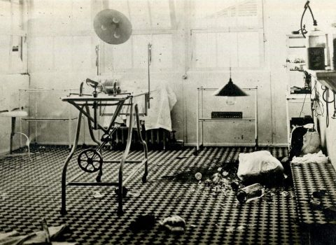 Surgical room after an air raid