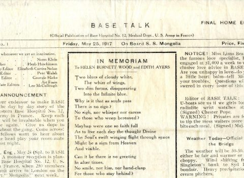 Base-Talk. Newsletter of the SS Mongolia, May 25, 1917