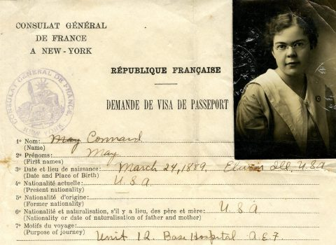 Passport application for nurse May Connard, September 6, 1917