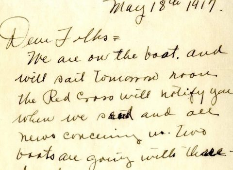 """Letter from Red Cross Army Nurse, May 18, 1917, written by """"Carrie"""" aboard the SS Mongolia two days before the fatal gunnery accident."""