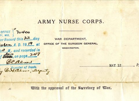 Army Nurse Corps. War Department form, Office of the Surgeon General, May 12, 1917. With this form reserve nurse Ernestine Kandel was assigned to active service in the military establishment. Kandel arrived in Camiers, France on June 11, 1917, to work for the British Base Hospital 18 and was later transferred to Base Hospital 12. Kandel was officially relieved from active service on July 8, 1919.