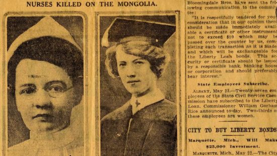 Newspaper clipping on the death of the two nurses Helen Wood and Edith Ayres, May, 1917