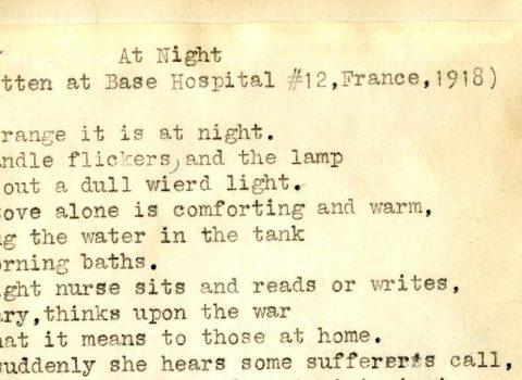 """At Night"". Poem written by Base Hospital 12 Nurse Marguerite Deuel. France, 1918"