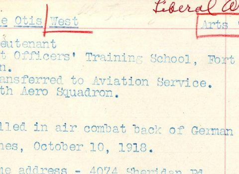 Parts of West's College of Liberal Arts record, 1917
