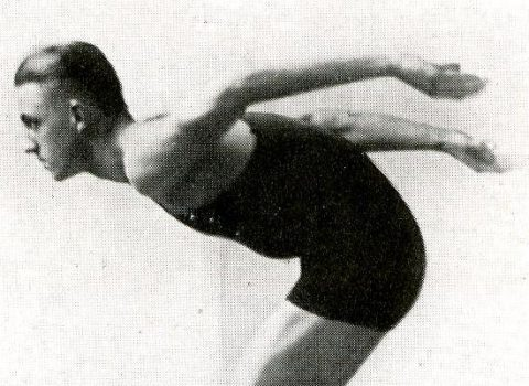 Photograph of West in his water basketball uniform, 1917