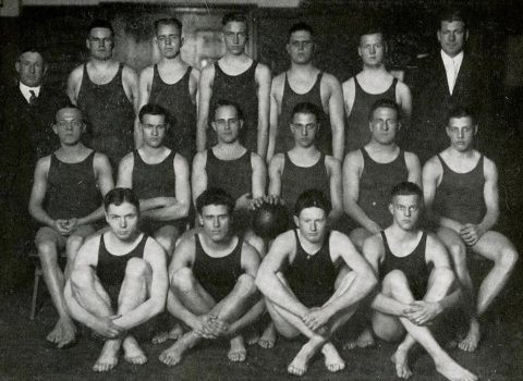 West and his water basketball teammates, Syllabus, 1918