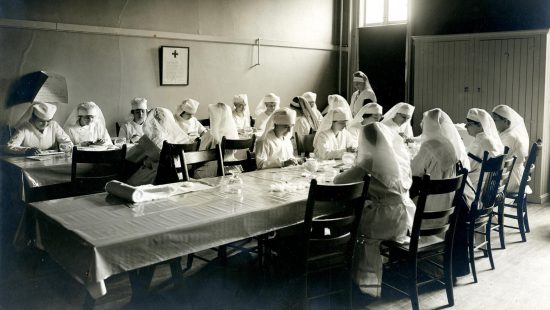 Red Cross working party in University Hall, undated