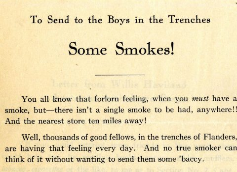 """To Send the Boys in the Trenches Some Smokes!"" flyer, undated. Wigmore heeded the call from an Evanston resident and member of the American Ambulance Corps who asked for tobacco and cigarette donations for soldiers."