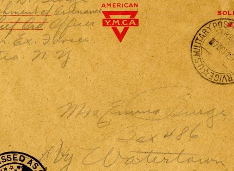 "Censor-approved envelopes, 1918. Postal letters, stamped ""A.E.F. Passed as Censored,"" sent by Sgt. Russel David Burge, class of 1927, from France to his mother, Emma Burge in South Dakota."