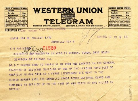 Western Union Telegram, Nov. 10, 1922