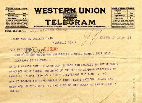 Western Union Telegram, Nov. 10, 1922
