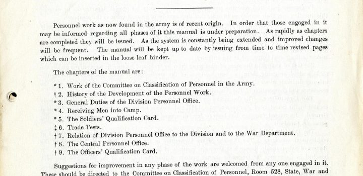 Personnel Work in the Army, U.S. Army Classification, Walter Dill Scott, 1918